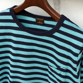 3/4 SLEEVE BORDER POCKET T-SHIRTS