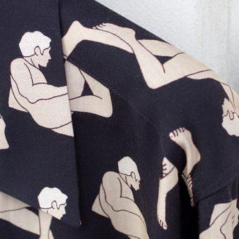 MALE/FEMALE PATTERN OPEN COLLAR SHIRT [MEN'S]